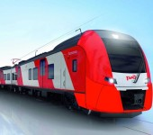 """Die Siemens-Züge vom Typ Desiro RUS für den Regionalverkehr können eine Geschwindigkeit von bis zu 160 km/h erreichen. Sie tragen in Russland den Namen """"Lastochka"""" - die kleine Schwalbe. Die ersten Einheiten sollen ab Herbst 2013 in Sotchi in Betrieb gehen.  Siemens' Desiro RUS trains, which are designed for regional transit, can reach speeds of up to 160 km/h. In Russia, they are known by the name of """"Lastochka"""", which means """"little sparrow"""". The first units are planned to go into service in Sotchi starting in the autumn of 2013."""